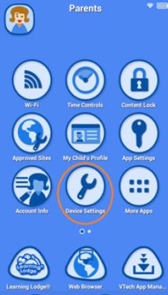 Screen: Select Device Settings from the Parent Settings menu