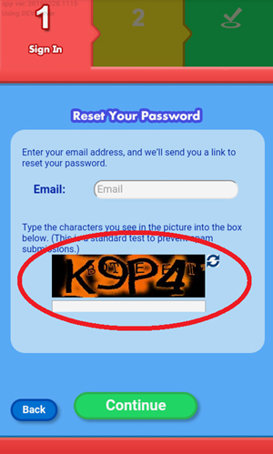 Screen: Reset your password.
