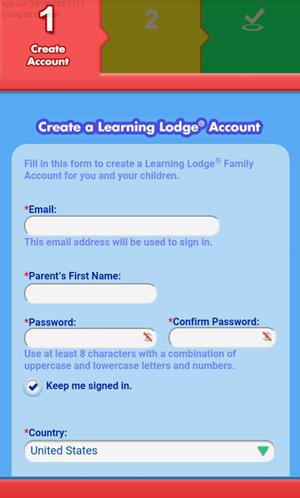 Screen: Create account.