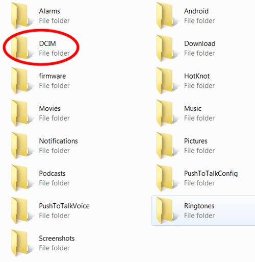 Screen: DCIM folder