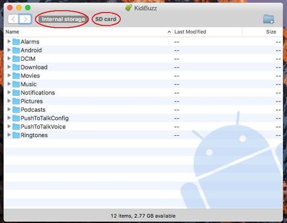 Screen: Internal Storage folder on Mac