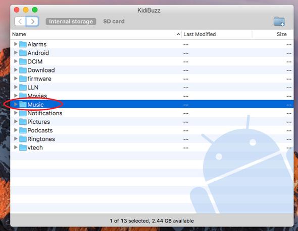 Screen: Choose Music folder of internal storage on Mac