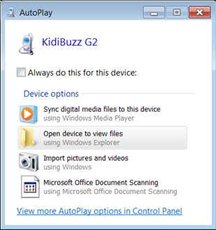 Screen: AutoPlay window on PC